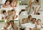 Parents with children at home, photo-montage — Stock Photo