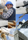 Photomontage of a construction worker on a site — Stock Photo