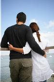 Couple stood on pier — Stock Photo