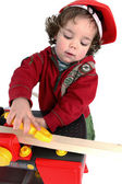 Little boy playing builder — Stock Photo