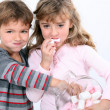 Girls eating marshmallows — Stock Photo #8170048