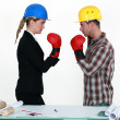 Stock Photo: Architect and builder boxing