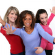 Three happy young woman — Stock Photo