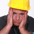Stressed builder — Stock Photo