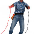 Electrician being electrocuted — Stock Photo