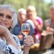 Senior woman enjoying a glass of rose wine with friends on a picnic — Stock Photo