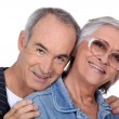 Portrait of a senior couple on white background — Stock Photo