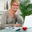 Grandmother using laptop - Stock Photo