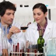 Foto Stock: Man and woman testing wine in laboratory