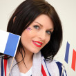 Woman waving the French flag - Stockfoto