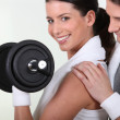 Stock Photo: Couple working out together