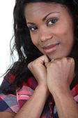 African lady wearing checked shirt — Stock Photo