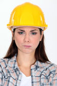 Angry construction worker making a face — Stock Photo