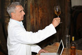 Oenologist analysing a wine — Stock Photo