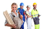 Workers with one in the foreground — Stock Photo
