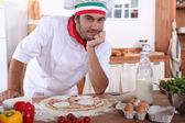 Pizza kock — Stockfoto