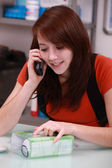 Young person on the phone — Stock Photo