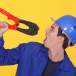 Man holding bolt cutters — Stock Photo #8320054