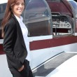 Female pilot and her light aircraft - Foto de Stock
