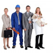 Four different occupations — Stock Photo