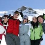 Group of teenage skiers having fun — Stock Photo