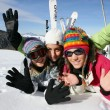 Stock Photo: Teenagers on ski slopes