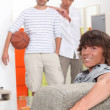 Lads waiting to play basketball — Stock Photo #8323329