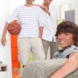 Stock Photo: Lads waiting to play basketball