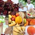 Mosaic of couple with basket of fruit — Stock Photo