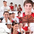 sport tema collage — Stockfoto