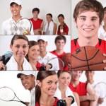 kolaż tematyce sportu — Zdjęcie stockowe