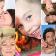 Children with parents or grandparents — Stock Photo