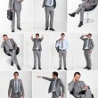 Collage of a man wearing a grey flannel suit — Stock Photo #8323827