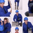 Collage of a construction worker — Stock Photo