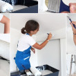 Montage of handywoman painting at home - Stock Photo