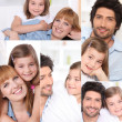 Collage of parents with little girl at home — Stock Photo