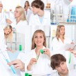 Photo-montage of chemistry students — Stockfoto
