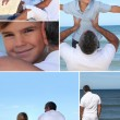 Man and little boy at the beach - Stockfoto