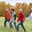 Two couples strolling across a field — Stockfoto