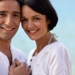Closeup of couple at the beach — Stock Photo #8324151