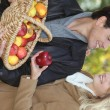 Couple picking apples together — Stock Photo