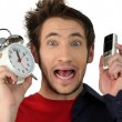Shocked man late — Stock Photo