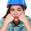 Stock Photo: Portrait of female laborer exhausted