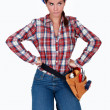 Frustrated female builder — Stock Photo #8324626