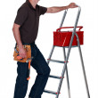 Mwith toolbox and stepladder — Zdjęcie stockowe #8325061