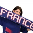 Female football fan holding a France scarf — Stock Photo #8325849