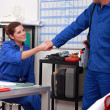 Blue collar coworkers shaking hands — Stock Photo #8326844