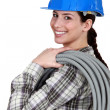 Foto Stock: Female electrician