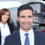 Portrait of a handsome businessman in blue suit — Stock Photo #8329287