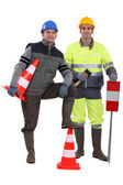 Two road workers posing together — Stock Photo